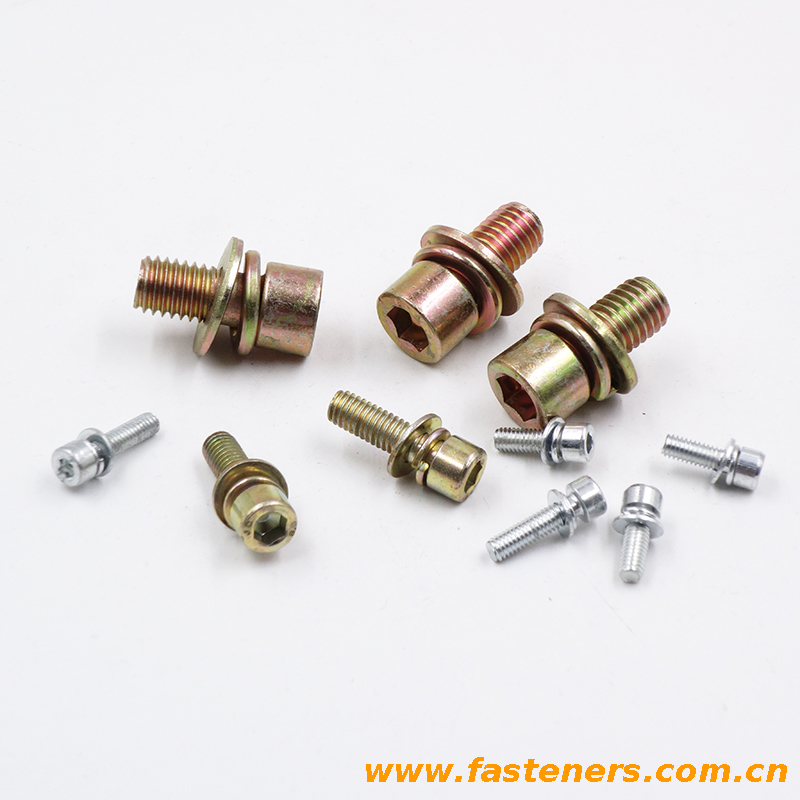 DIN912 hexagon socket head combination bolt with flat washer spring washer