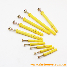 Plastic yellow Screw Hole Plugs Fixing Anchor Plastic Expand Tube for Screw Preservation Nail